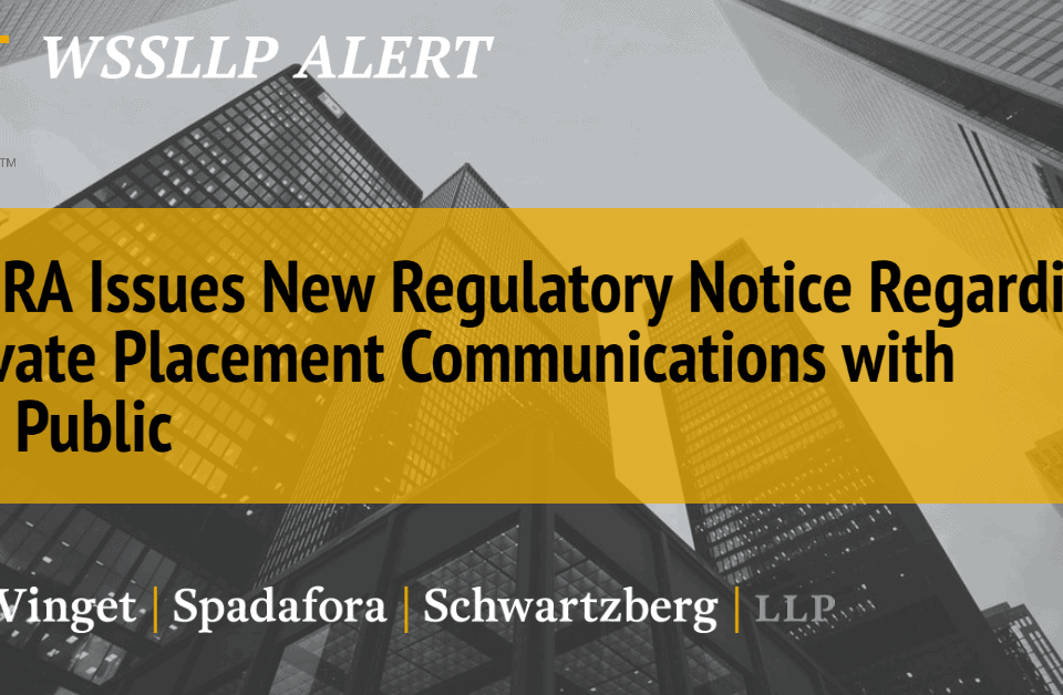 wssllp finra issues new regulatory thumb